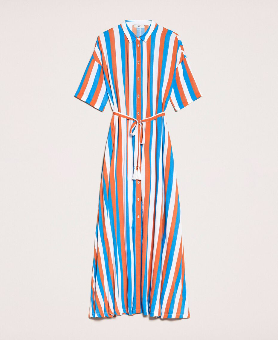 "Long striped shirt dress Multicolour ""Bay"" Blue / ""Choco"" Brown / Optical White Woman 201LM2FBB-0S"