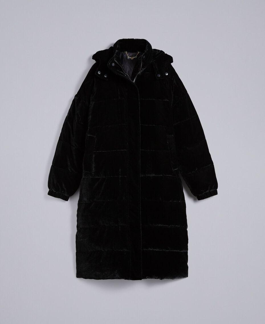 Doudoune longue en velours Noir Femme TA82BB-0S