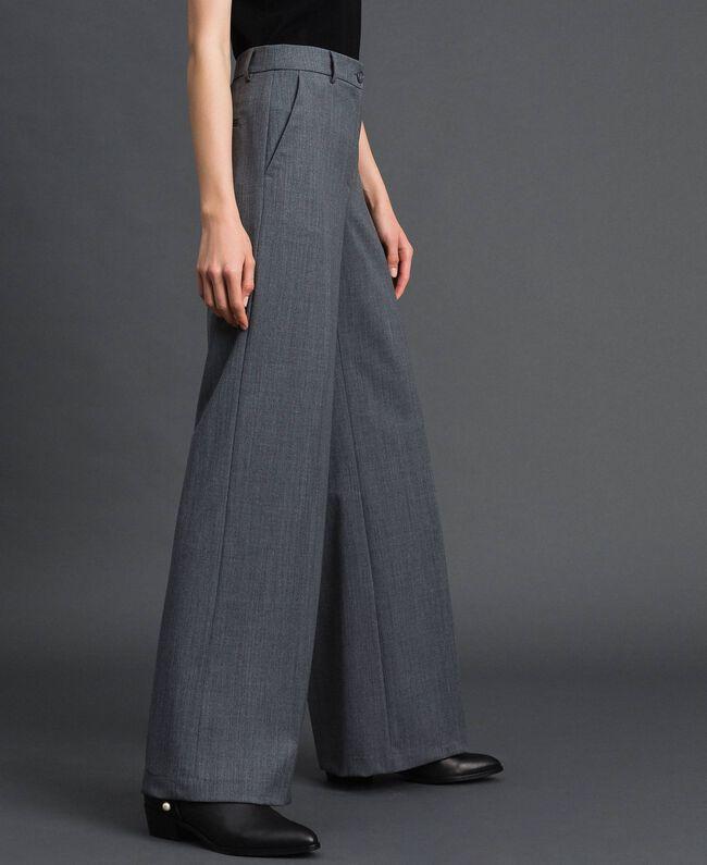 Wide-Leg-Hose aus technischem Wollgewebe Dunkelgrau-Mélange Frau 192TP2351-01