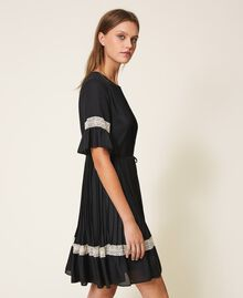 Pleated dress with lace Black Woman 202TP2130-03