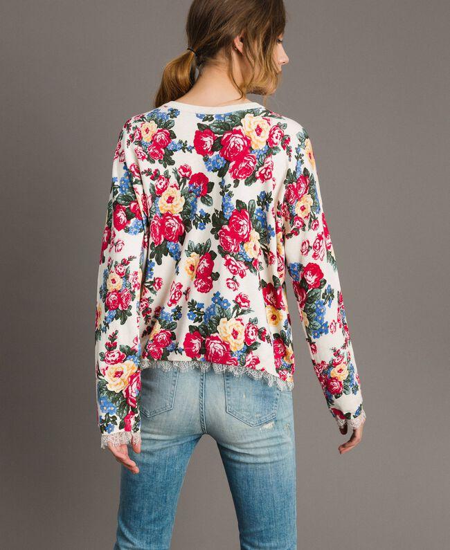 Pullover-Cardigan mit Blumenmuster Motiv Tuch Weiße Blumen Frau 191MP3131-03