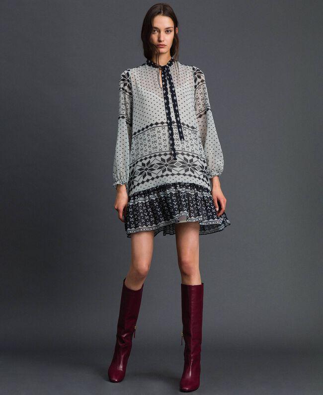 """Kleid aus bedrucktem Georgette Printmix """"Air de Neige"""" Schwarz und Vanille Frau 192MT2392-01"""