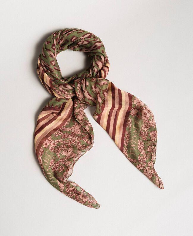 Double pattern sarong Amazon Green Animal Print Woman 191LM4UBB-01