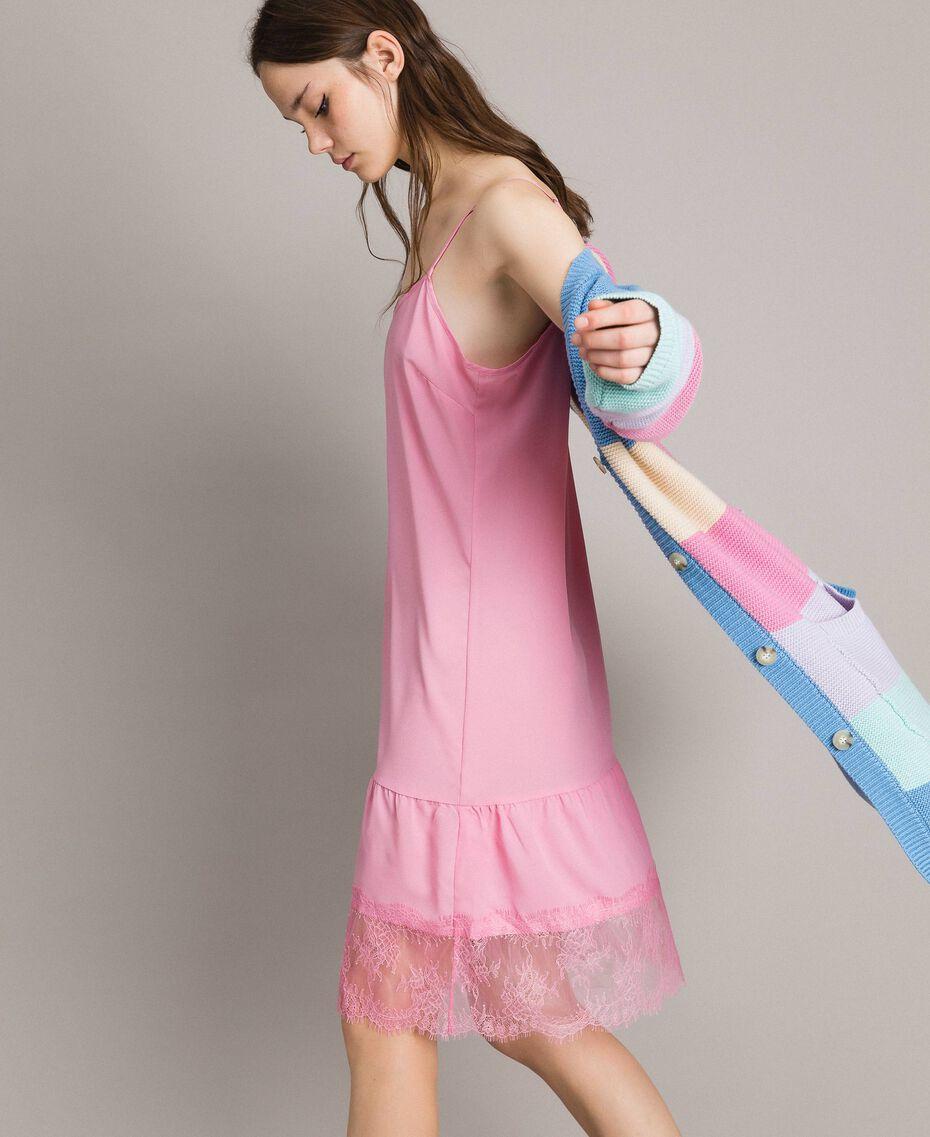 Vestido lencero de crespón de China con encaje Rosa Hortensia Mujer 191MP2453-02