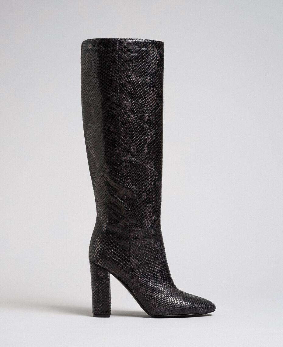 Leather high boots with animal print Dark Green Python Print Woman 192TCP108-02