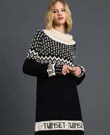 "Jacquard knit dress with logo and pearls Black / Dark ""Papyrus"" White Jacquard Woman 192TP332D-01"