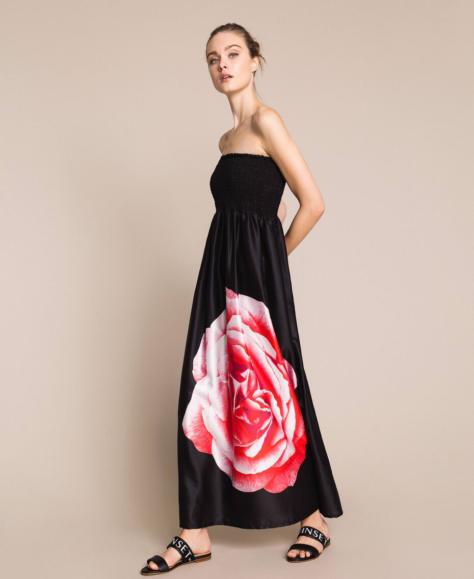 Long dress with print Black Rose Print Woman 201LB28SS-02