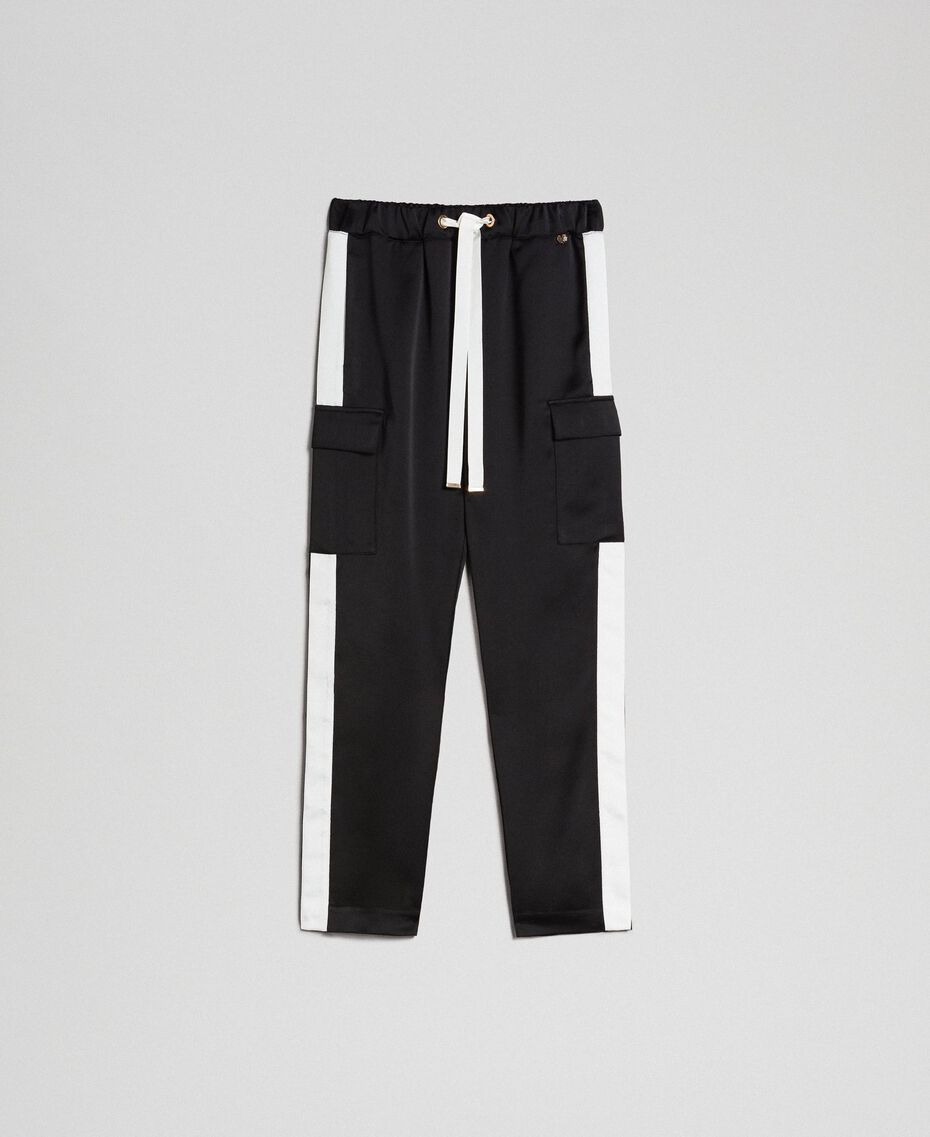 Cargo trousers with contrasting bands Two-tone Black / Lily Woman 192MP2354-0S