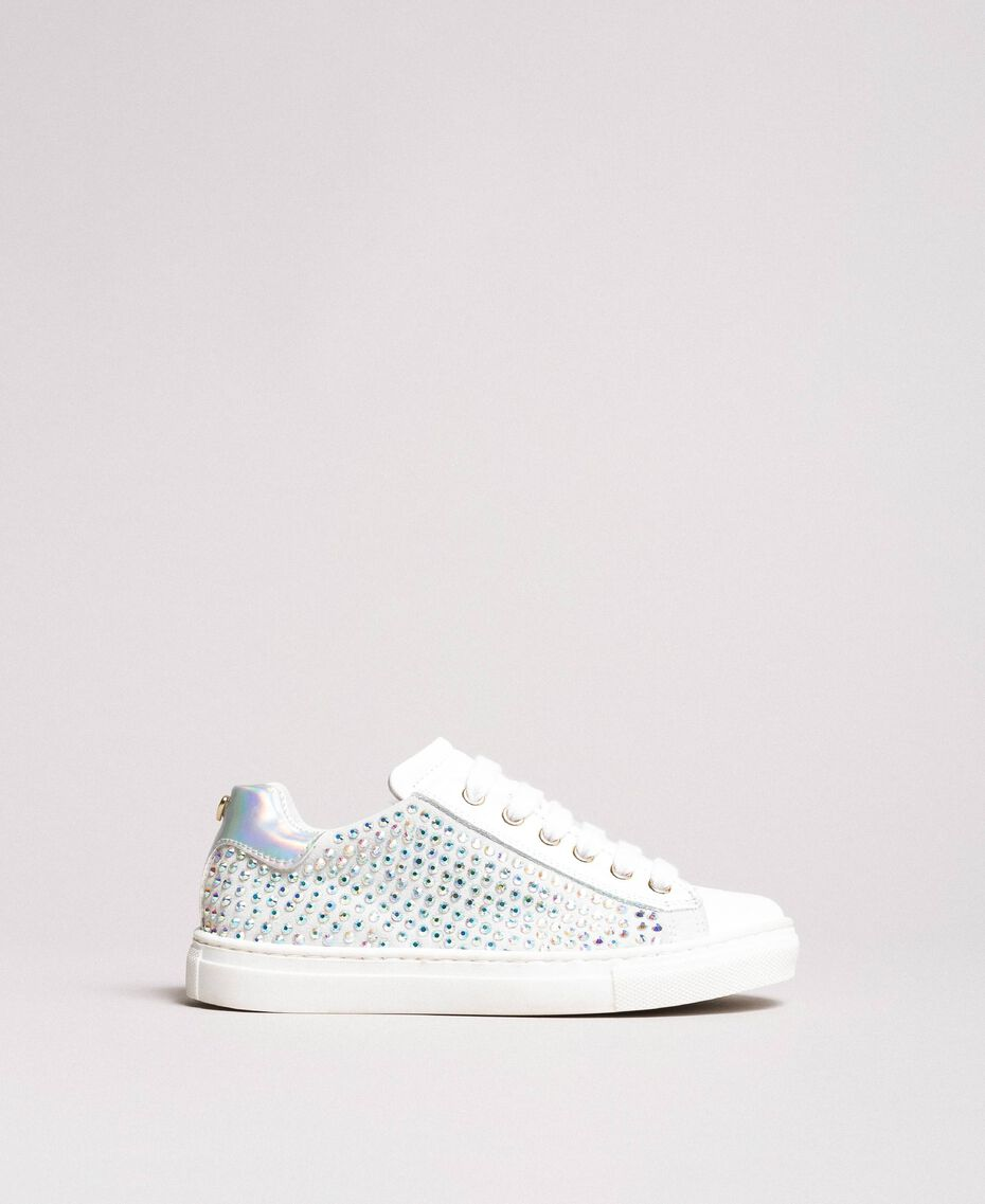 Rhinestone leather sneakers Pale Cream Child 191GCJ070-02