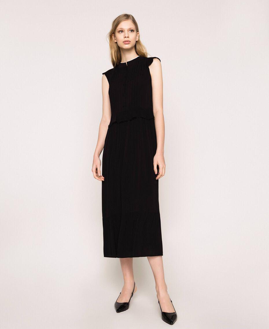 Crêpe de Chine long dress Black Woman 201TP2390-01