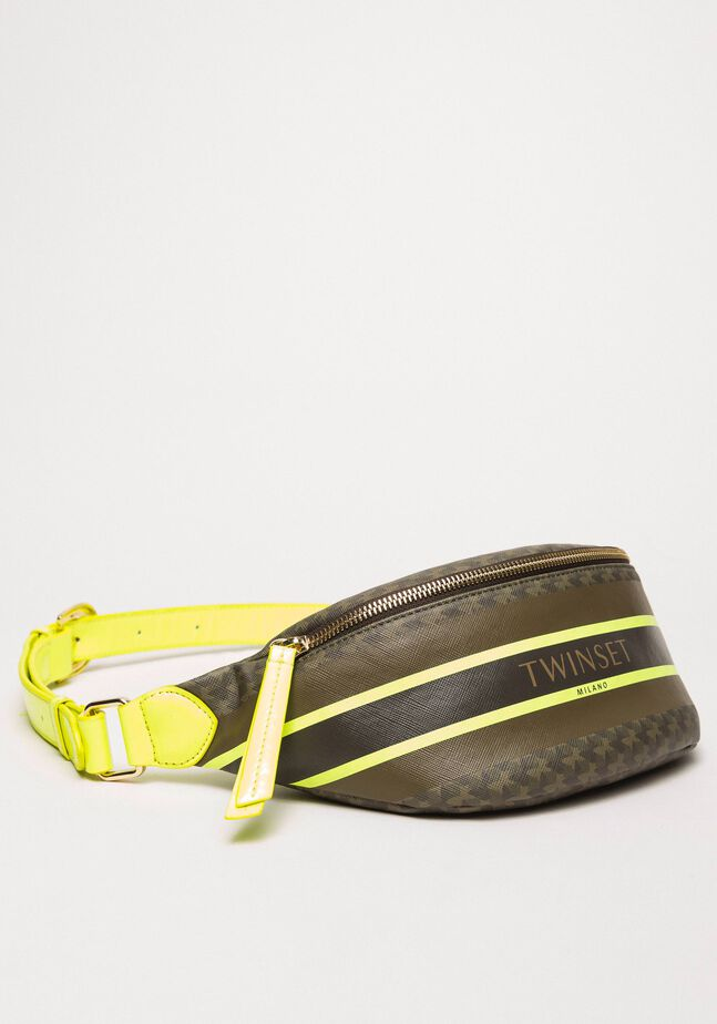 Butterfly print faux leather belt bag