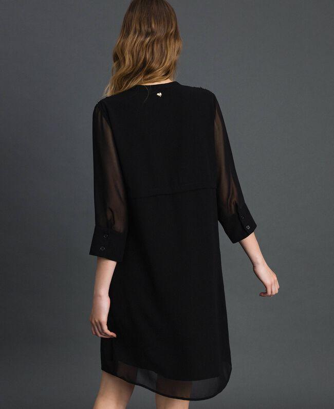 Robe en crêpe georgette avec pierres et perles Noir Femme 192MP2480-03