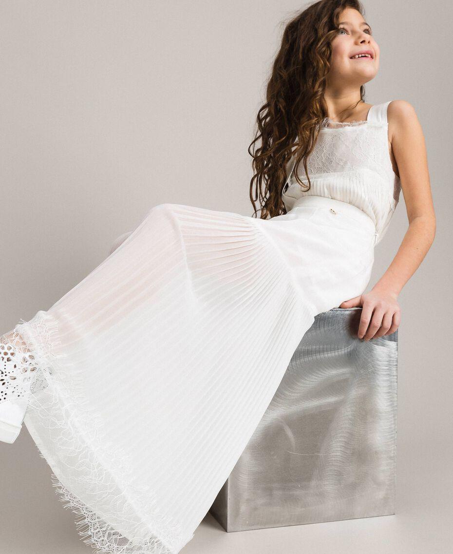 Pantalon en georgette plissée et dentelle Off White Enfant 191GJ2QA1-0S