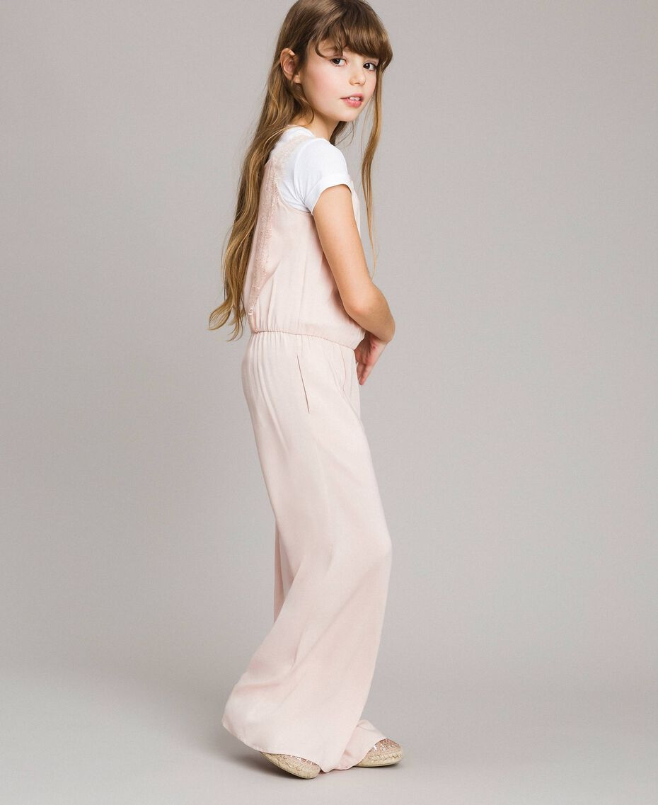 Flowing fabric and lace jumpsuit Blossom Pink Child 191GJ2431-02