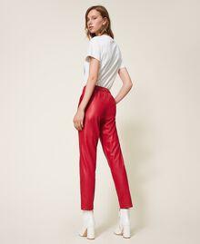 Pantalon cigarette en similicuir Rouge Terre cuite Femme 202LI2GDD-03