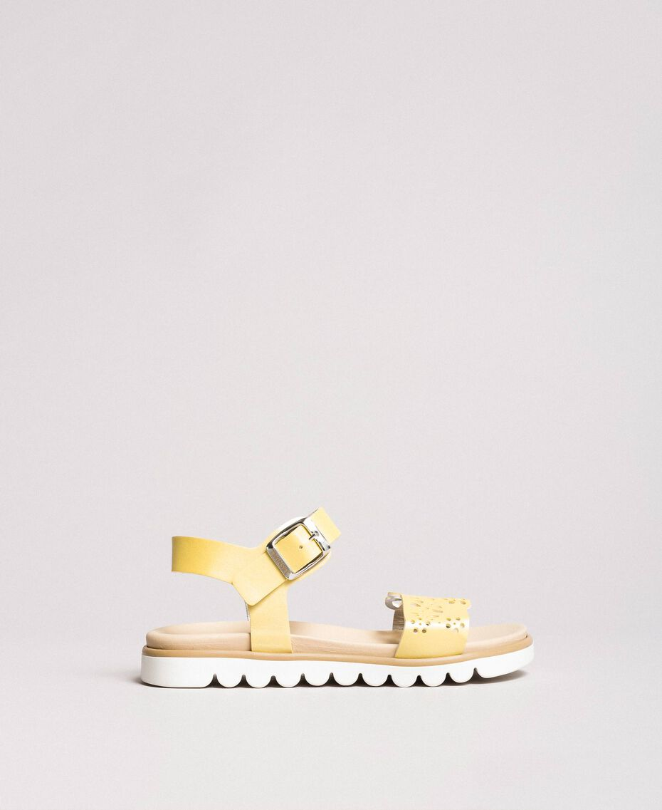 "Leather sandals with embroidery ""Bamboo"" Yellow Child 191GCJ170-03"