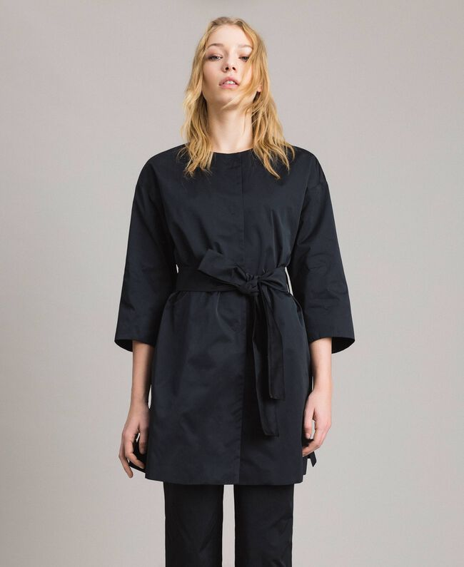 Taffeta duster coat Black Woman 191TP2655-01