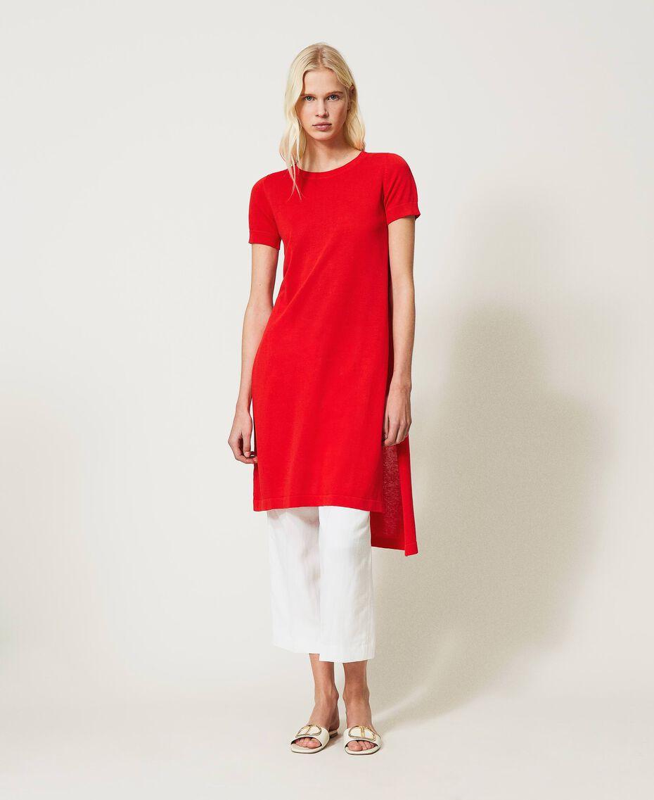 """Длинный джемпер из смесового льна с разрезами Красный """"Коралл"""" женщина 211TT3153-01"""
