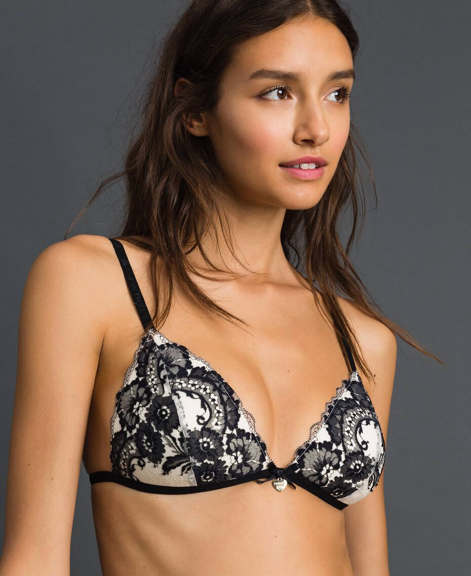 Two-tone lace padded triangle bra Ivory / Black Woman 192LL6D11-01