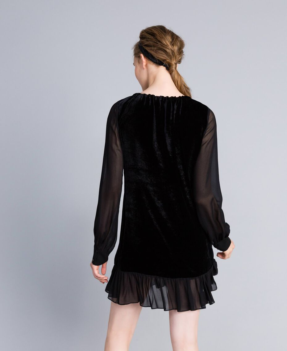 Velvet and georgette dress Black Woman PA823A-02