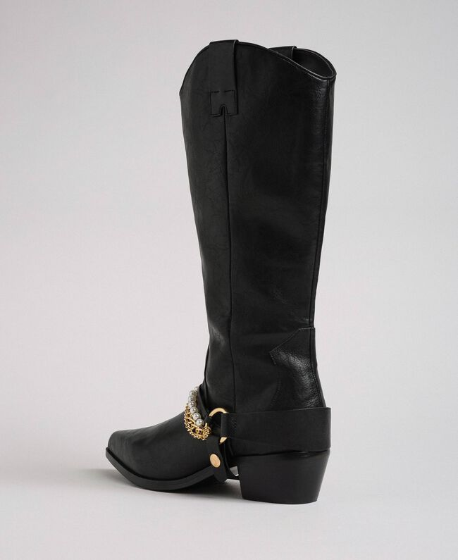 Texas boots with straps, chain and pearls Black Woman 192MCP014-03
