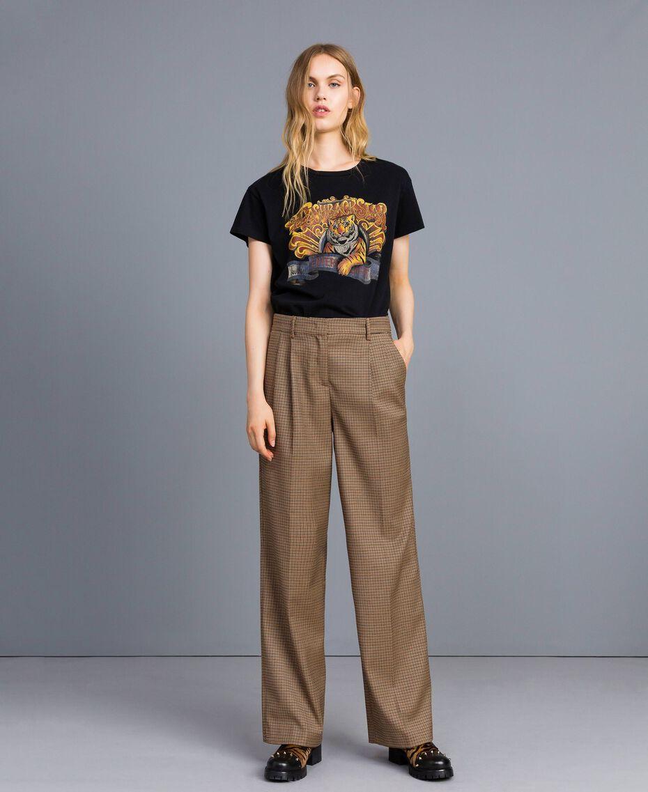 """Pantaloni palazzo in misto lana Jacquard Quadretti Arancione """"Bruciato"""" Donna TA821S-01"""