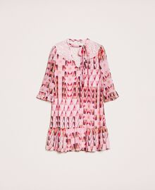 """Printed georgette dress with lace """"Candy"""" Pink Geometric Print Woman 201ST2180-0S"""
