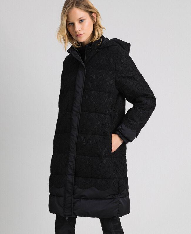 Macramè lace puffer jacket Black Woman 192TP2130-01