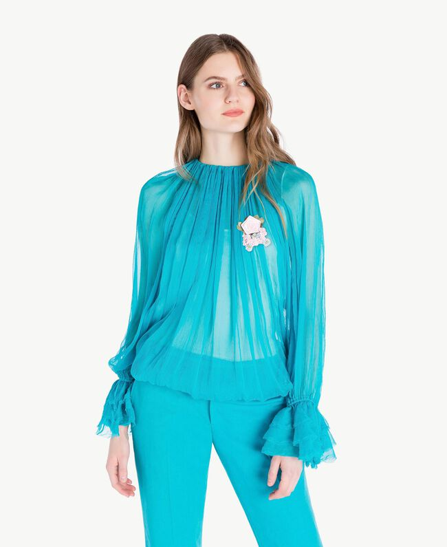 Silk blouse Turquoise Woman PS8221-01