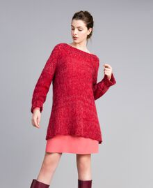 """Maxi mohair jumper """"Poppy"""" Red Mouliné Woman PA838A-02"""