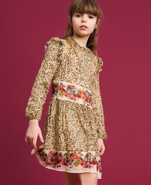 Floral and animal print georgette dress Leopard Print / Floral Child 192GJ2572-01