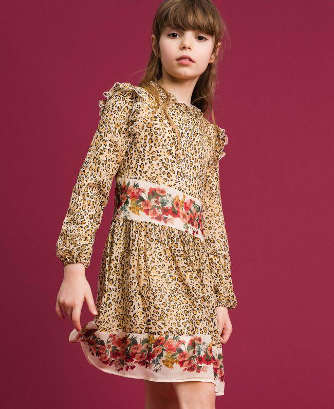Robe en crêpe georgette animalier et floral Imprimé Léopard / Fleur Enfant 192GJ2572-01