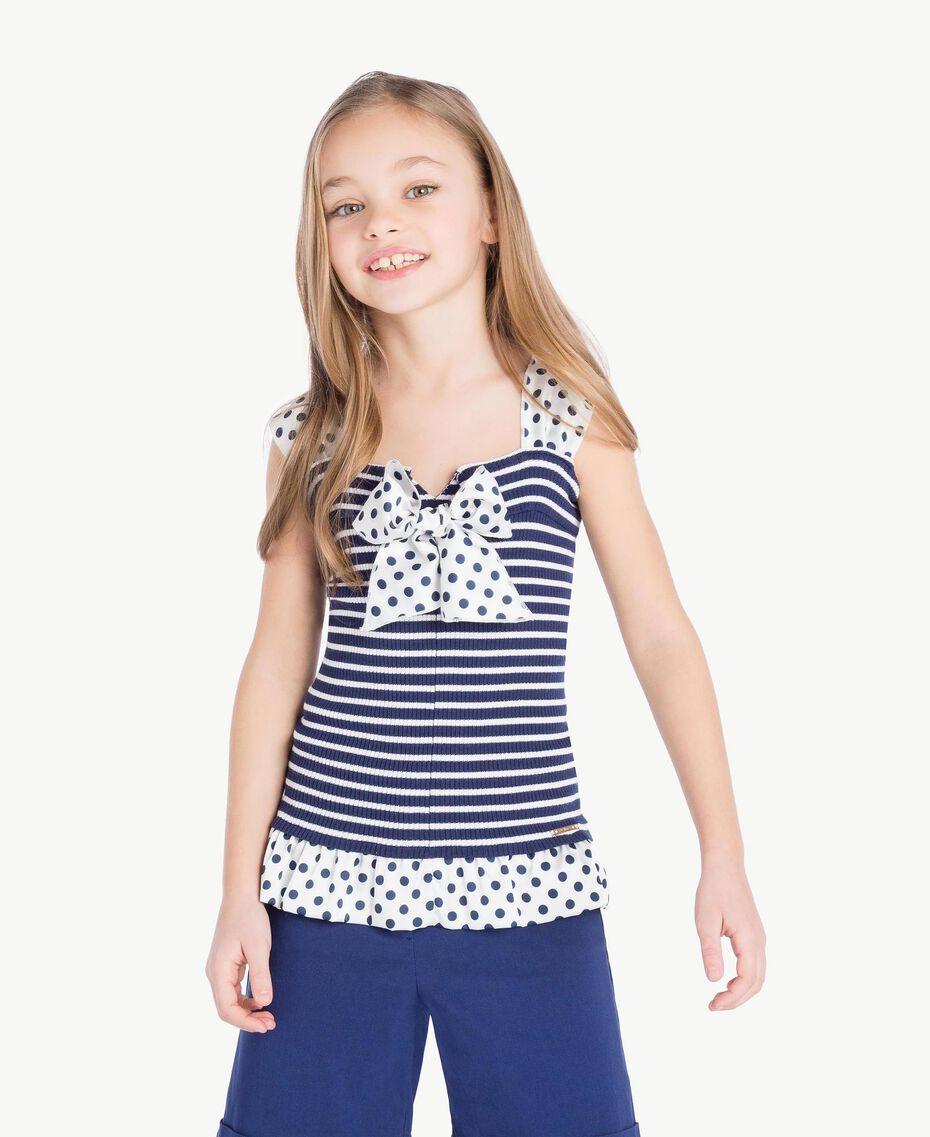 "Striped top Ocean Blue / ""Papyrus"" White Stripes / Flower Print Child GS83BB-02"