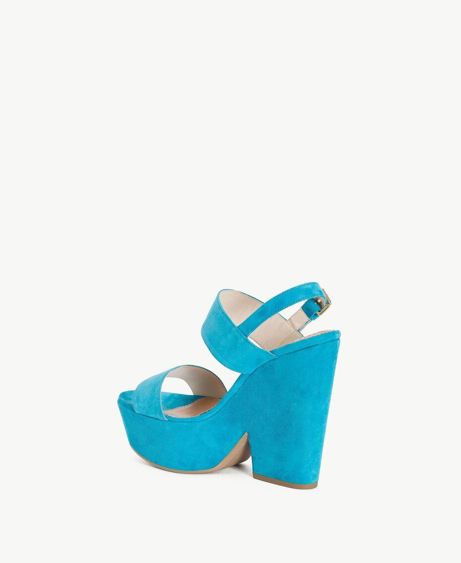 TWINSET Sandales daim Bleu «Gentiane» Femme CS8TCC-03