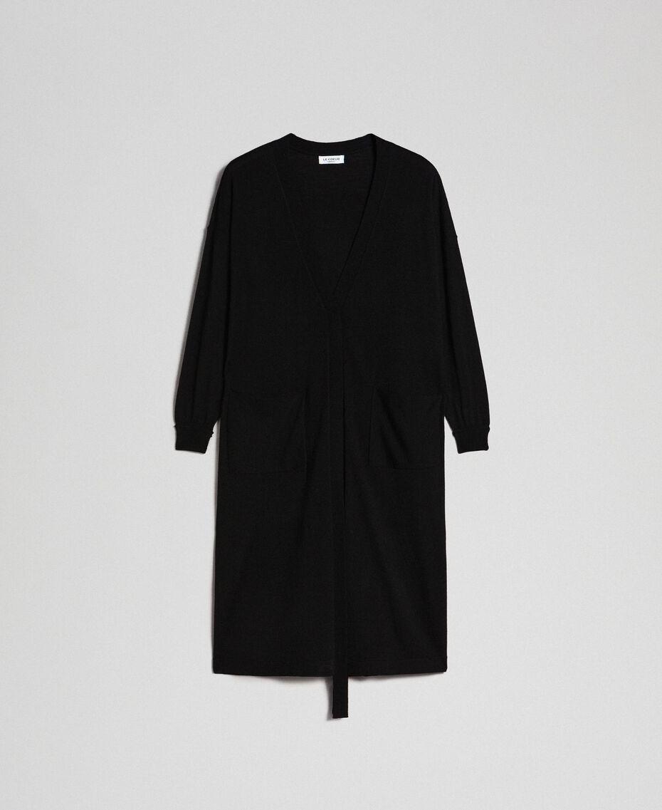 Maxi cardigan en laine mélangée Noir Femme 192ST3161-0S