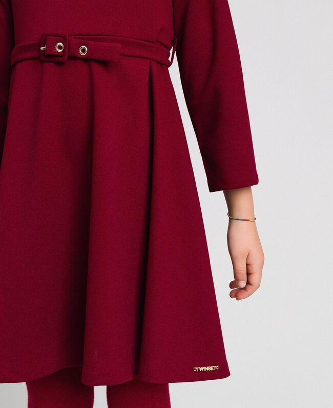 Crêpe dress with belt Ruby Wine Red Child 192GJ2452-04
