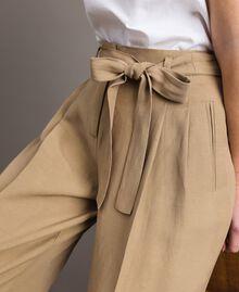 """Pantalon en lin Marron """"Désert Froid"""" Femme 191TT230A-01"""