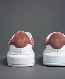 "Leather trainers with rhinestones ""Optical"" White/ ""Nude Pink"" Woman 192TCT110-04"