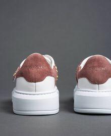 Sneakers aus Leder mit Strass Optisches Weiß / Nude-Rosa Frau 192TCT110-04