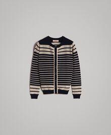 Viscose and lurex striped mandarin collar top Light Gold Lurex / Deep Blue Striping Woman 191TP3232-0S