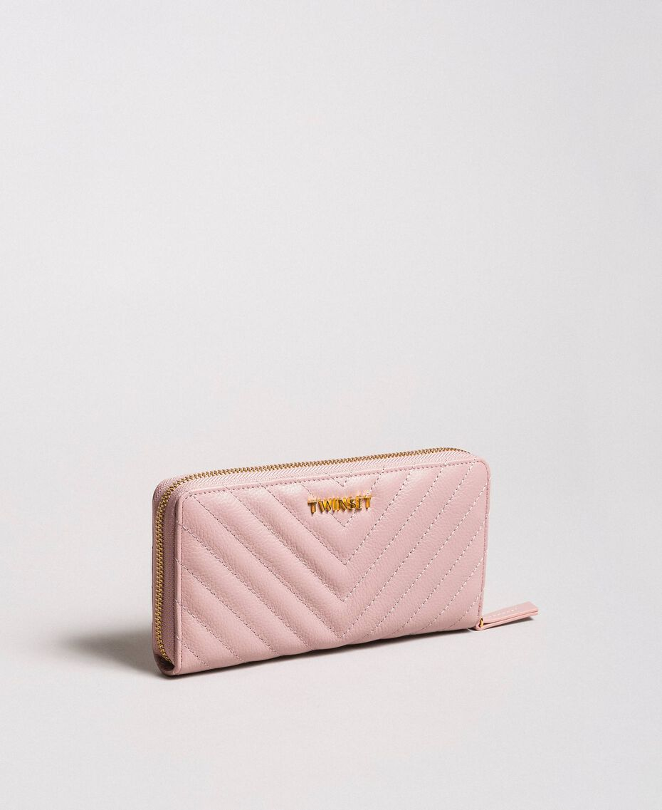 Matelassé leather wallet Pink Pearl Woman 191TA7198-02