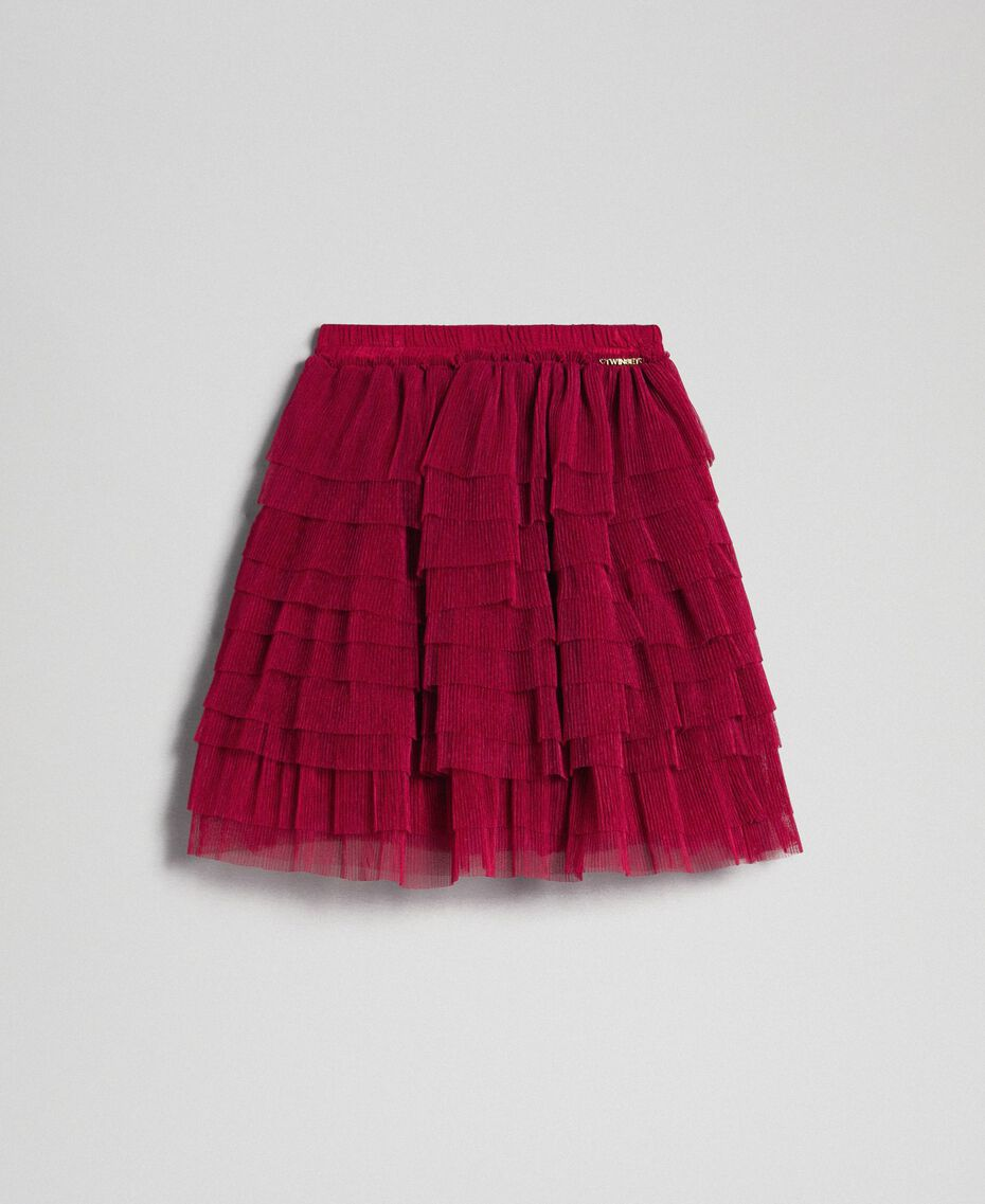 Pleated flounce tulle skirt Ruby Wine Red Child 192GJ2113-0S
