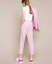 """Pin stripe cigarette trousers """"Candy"""" Pink Pin Stripe Jacquard Woman 201ST2081-03"""