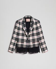 "Chequered blazer with lace ""Snow"" White Tartan Jacquard Woman 192TP2620-0S"