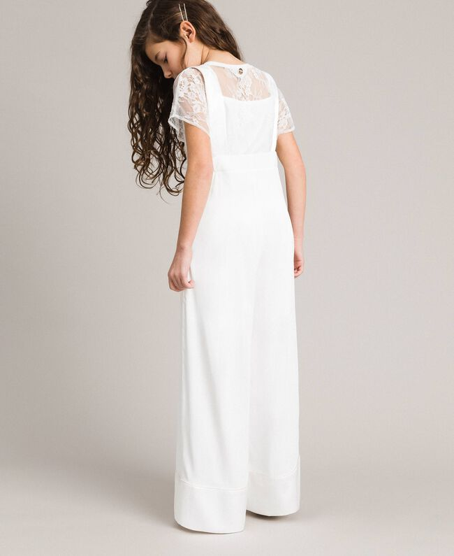Georgette and satin jumpsuit Off White Child 191GJ2QJ0-03