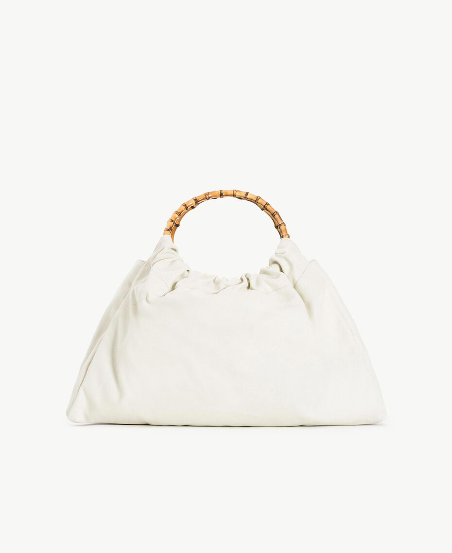 """TWINSET Canvas bag Two-tone """"Dune"""" Beige / Leather Woman OS8TAF-03"""