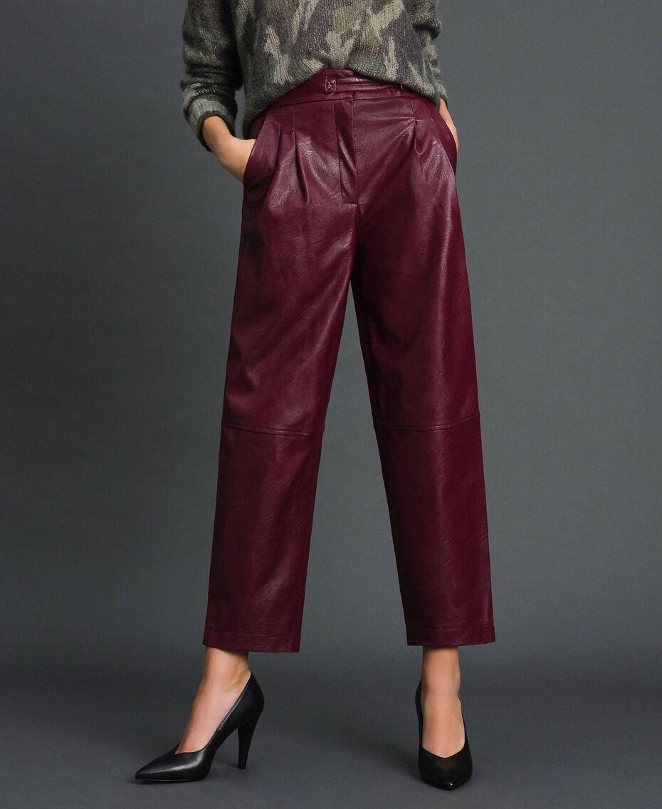 Pantalon ample en similicuir Rouge Velours Femme 192TT203C-02