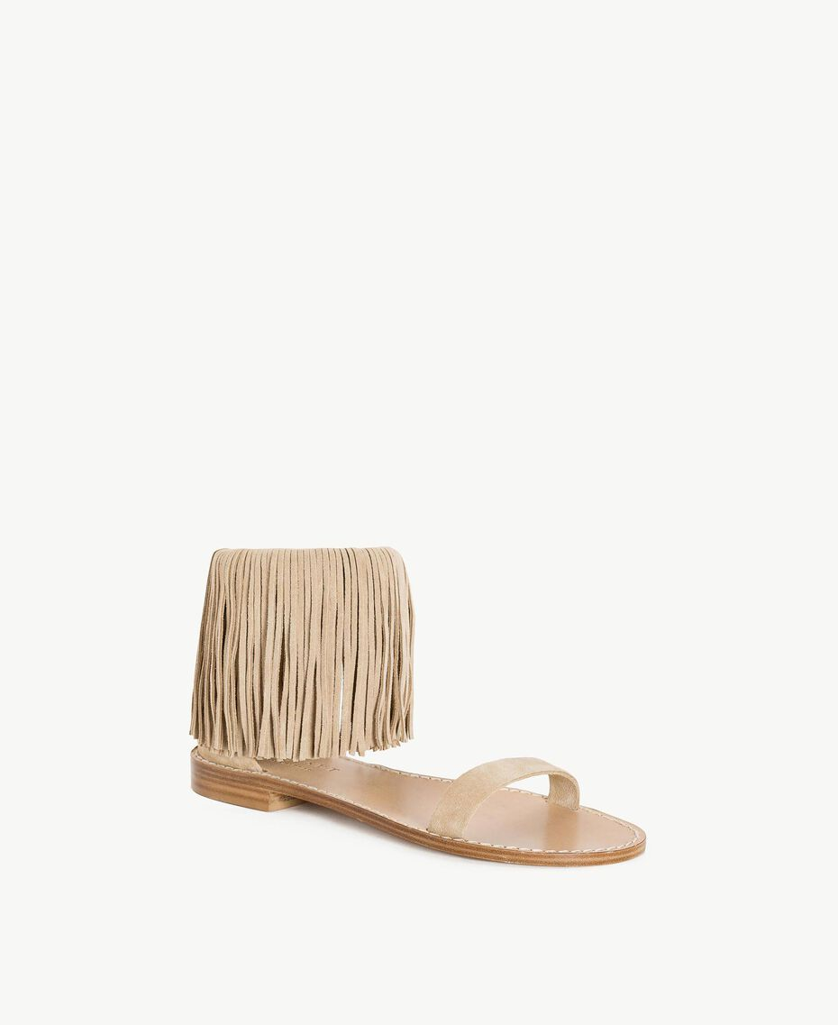 "TWINSET Fringe sandals ""Dune"" Beige Woman CS8TAN-02"