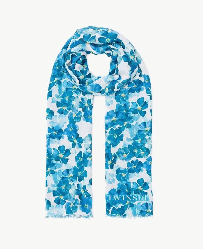 Écharpe fleurs Imprimé Fleurs Turquoise / Bleu d'Orient Femme AS8P4G-01