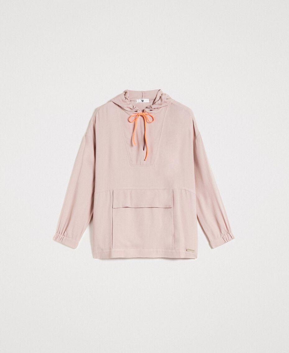 Crêpe sweatshirt with maxi pocket Delicate Pink Woman 191LL23AA-0S